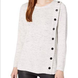 Nic+zoe Melange-knit Snap Sweater In Moondust